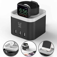 Apple Charging Dock Apple iPhone Watch Stand 4 Port USB Charging Station Cable Management Nightstand Mode Compatible for iPhone iPad and Other Mobile Devices at Products Lists of Tools and Hardware - why our apple watch dock charger Apple Watch Accessories, Iphone Accessories, Apple Watch Charging Stand, Best Apple Watch, Apple Watch Iphone, Usb Charging Station, Iphone Stand, Lg Phone, Best Smartphone