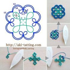 "247 Likes, 19 Comments - aki (@aki_tatting) on Instagram: ""photo >>> #aki_tatting_freepattern_03 ビーズを入れたり繋げてブレードにしたり、色々アレンジしてみて下さい☺ #aki_tatting_freepattern…"""