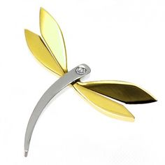 Stainless Steel and Gold PVD Dragonfly Pendant