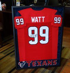 Custom Framed Houston Texans J J Watt Jersey. Picture Worth Custom Framing  · Custom Framed Shadow boxes e48e89800