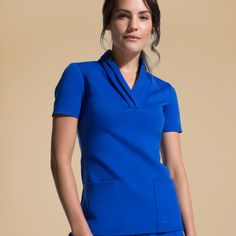Modern Scrubs and Lab Coats for Men and Women by Jaanuu Scrubs Outfit, Lab Coats, Medical Uniforms, Medical Scrubs, Scrub Tops, Royal Blue, High Neck Dress, Dresses For Work, 2020 Vision
