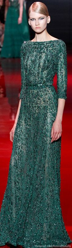 Elie Saab Haute Couture | F/W 2013 {See similar lace here: http://bandjfabrics.com/fabrics/beaded-lace }