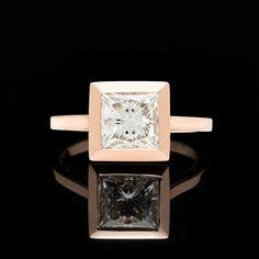 Custom 18kt Rose Gold Ring Featuring GIA 2.02ct Princess Cut