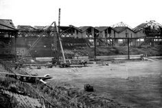 Bomb damaged Old Trafford Football Ground pictured after the Blitz in 1945 Manchester United Old Trafford, Manchester United Football, Bobby Charlton, Sports Stadium, The Blitz, Live Matches, Salford, Football Stadiums, Play Soccer