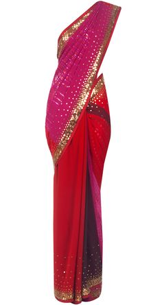 SATYA PAUL - Pink and red striped sari - SPC0713SY6102 - This vibrant sari features stripes on the pallu in shades of pink and red. There is a splash of sequin and applique work all over the sari.