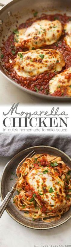 30 Minute Mozzarella Chicken in Tomato Sauce ! A delicious , quick and easy weeknight recipe for chicken smothered in tomato sauce with melty mozzarella! Serve with bread or pasta !b Littlespicejar.com