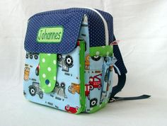 """Kindergarten-Rucksack """"Rudi"""" Baufahrzeuge von Made by Monique auf DaWanda.com"""