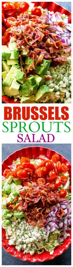 This Brussels Sprouts Salad is shaved Brussels sprouts with bacon, onion, tomato, avocado, and Gorgonzola cheese. the-girl-who-ate-everything.com