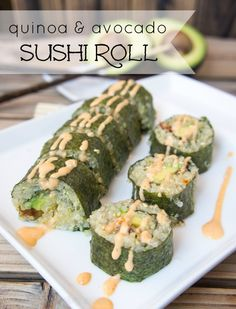 Quinoa and Avocado Sushi Rolls (with sun dried tomatoes and bacon) - It's easy to make your own sushi with this simple tutorial! I love this roll so much, the flavors are incredible!