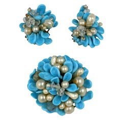 Louis Rousselet Turquoise and Pearl Brooch and Earclips at 1stdibs