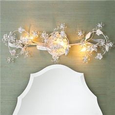 Crystal Flowers Bath Light in white, gold or bronze for shabby chic, vintage or dressy bathrooms!