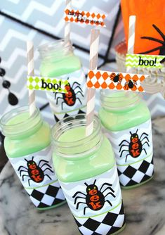 FREE HALLOWEEN PRINTABLE DRINK WRAPPERS AND STRAW FLAGS! Eek-O-Ween Halloween party with such cute ideas via Kara's Party Ideas | KarasPartyIdeas.com #HalloweenParty #HalloweenPrintables #FREEPRINTABLES