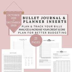 Budget and Finance Tracker, Credit Score Planner, Dated 2019-2020, 2020 Budget by DesignerJaim on Etsy Bullet Journal Inserts, Financial Tips, Financial Planning, Finance Tracker, Budget Binder, Learn Calligraphy, Business Planner, Planner Pages, Credit Score