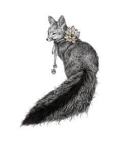 Foxy by Brett Manning Pen illustration, color added in photoshop Pen Illustration, Illustrations, Fox Tattoo, Photo D Art, Fox Art, Painting & Drawing, Lady Drawing, Fox Drawing, Amazing Art