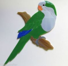 Precut stained glass art kit inlay QUAKER PARROT BIRD Mosaic Garden Stone Tile. Many original designs selling on ebay.