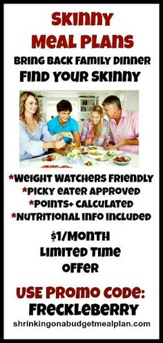 Weight Watchers Inspired, family friendly meal plans. $1/Month for a limited time. They've done all the Points+ calculations and provided all the nutritional information on picky eater approved meals. Breakfasts, lunches, and desserts included! Use Promo Code Wicked Noodle for your $1/month discount (shrinkingonabudgetmealplans.com)#shrinkingonabudgetmealplans