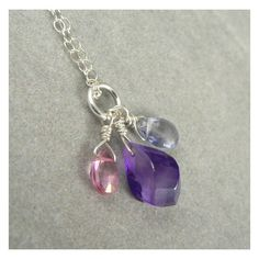 Gemstone Charm Necklace Sterling Amethyst Iolite by asilomarworks via Polyvore