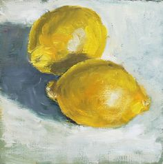 Still Life Painting with lemons Oil on Wood Panel Wall by HOomen, $150.00