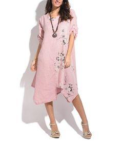 Look at this #zulilyfind! Light Pink Floral Linen Handkerchief Dress - Plus Too #zulilyfinds