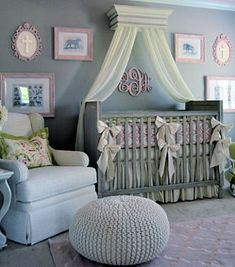 An elegant pink and grey baby girl jungle safari nursery theme design with DIY crafts projects and vintage artwork.  The wall paint color matches RH Baby and Kids crib and rug to make the room seem larger.