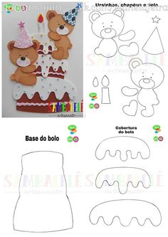 Felt Crafts Patterns, Paper Piecing Patterns, Scrapbook Bebe, Baby Birthday Card, Felt Hair Accessories, Quiet Book Templates, Felt Books, Applique Templates, Scrapbook Templates
