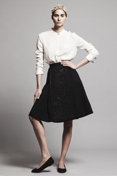 Ivory crepe de chine shirt THEODORA and black double face wool embroidered skirt ARIADNE