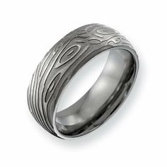 JewelryWeb Cobalt Chromium 925 Sterling Silver Engravable Inlay Satin 8mm Band Ring 10 10.5 11 11.5 12 12.5 13 7 7.5 8 8.5 9 9.5 Ring Size Options