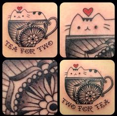 Cutest BFF tattoos ever! I <3 Pusheen :) credit to April Cornell @ Hidden Hand Tattoo in Seattle, WA.