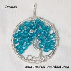 December's Birthstone Captured in Turquoise Czech Fire-Polished Crystals, by K for 'Trifles & Whimsy', on Etsy.