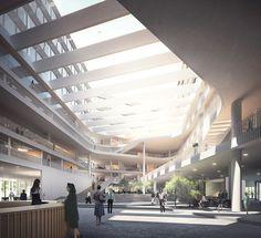 New offices in Copenhagen by aarhus arkitekterne Office Hub, Office Lobby, Scandinavian Architecture, Aarhus, Lobbies, Convention Centre, Construction, Indoor, Copenhagen