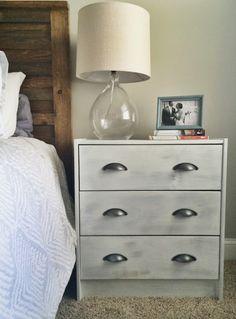 Ikea Rast Hack Nightstands, Rustic Bed, White Gray Nightstands