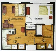 Simple floor plan for one bedroom tiny house.:
