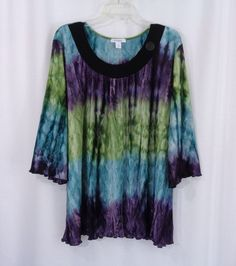 Womens Plus DRESSBARN Purple Green Blue Ombre Stretch Pleated ¾ Sleeve Top SZ 2X #dressbarn #Blouse #CareerCasual
