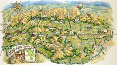 Illustrated Map of Stags Leap District, Napa Valley, California.