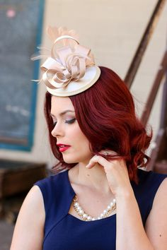 351efba48dac0 Butterfly mini top hat. See more. Beige Satin Fascinator Yellow Fascinator