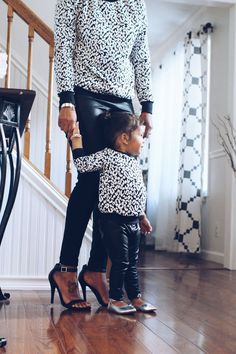 A unique animal print sweater set for a fall outfit, a white color cheetah print with delicate touches of black spots makes this adorable set an easy to match mommy and baby matching top. The sleeves