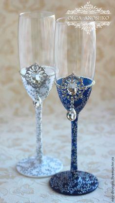 """Купить Свадебные бокалы """"Royal Wedding"""". Роспись. - темно-синий, свадебные бокалы, бокалы для свадьбы"""
