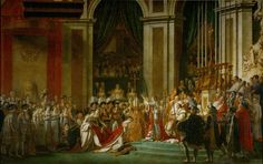 """Consecration of the Emperor Napoleon I and Coronation of the Empress Josephine in the Cathedral of Notre-Dame de Paris on 2 December 1804"" by Jacques-Louis David (1806-1807). ""The renowned French Neoclassical painter Jacques-Louis David captures all the grandeur of the Napoleonic reign. Packed with celebrities, including Pope Pius VII and the painter himself, this monumental work is 10 meters wide by 6 meters tall—a magnificent record of French history."""