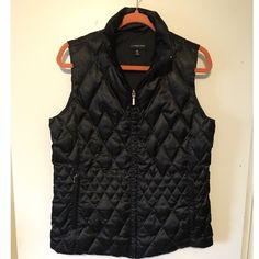 Lands End Puffer Vest NWOT silky black puffer vest. Fun stitched design. Lands' End Jackets & Coats Vests