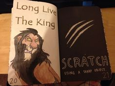 Wreck this journal scratch using a sharp object idea. Scar from Disney's Lion King Wreak This Journal Pages, Bullet Journal Ideas Pages, Bullet Journal Inspiration, Art Journal Pages, Wreck This Journal Everywhere, Instruções Origami, Create This Book, Drawing Journal, Creative Journal