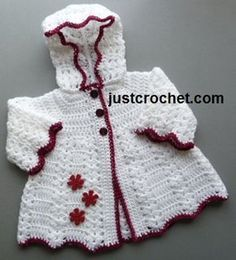 Free crochet pattern for hooded coat from http://www.justcrochet.com/hooded-coat-usa.html #patternsforcrochet #justcrochet #freecrochetpatterns