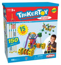 Builders ages 3+ can create a skyscraper, fighter jet, getaway car, or imagine your own heroic adventure! The Tinkertoy® Super Tink set includes 150 durable, plastic pieces including spools, straight rods, bendable rods, wings, eyes, panels, a Super Tink buildable figure and more! The newly redesigned Tinkertoy® pieces snap together and stay together for long-lasting play.