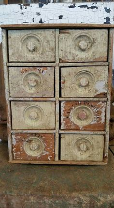 Primitive Antique Light Green Spice Cabinet.  Awesome in