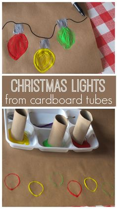 Christmas Light Bulbs Art Christmas art for kids - a fun and easy art project which can tranform into Christmas cards or wrapping paper. Make a sweet string on lights fusing a cardboard tube as a stamp. Christmas Art For Kids, Christmas Art Projects, Christmas Arts And Crafts, Easy Art Projects, Preschool Christmas, Christmas Activities, Xmas Crafts, Christmas Diy, Christmas Cards