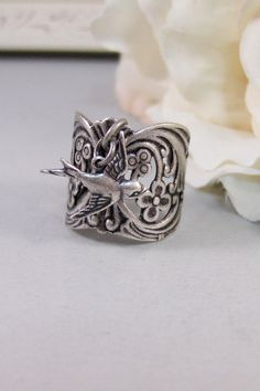 Gypsy's Saprrow,Ring,Silver,Bird,Sparrow,Antique Ring,Silver Ring,Bird Ring,Woodland,Wedding,Handmade jewelery by valleygirldesigns. on Etsy, $22.00