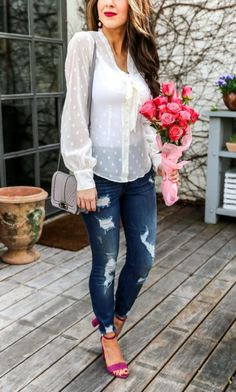 Ivory Tie Neck Blouse and Denim Jeans. Spring Tops. Spring Blouses. Pretty Blouses for Spring. Denim Outfit Ideas. Denim Style. Sheer Blouse. #springtops #springblouse