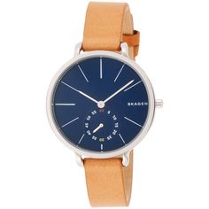 Fashion forward design and technical mastery, Skagen watches offer elegance, functionality and durability that is affordable and luxurious. This women's watch from the Hagen collection features a brown leather strap and blue dial.