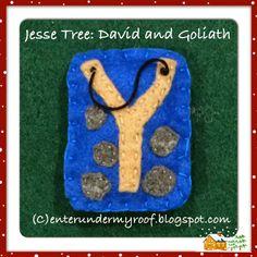 Jesse Tree Felt David Goliath Slingshot - Getting Ready for Advent! Jesse Tree Ornaments, Christmas Ornaments To Make, Christmas Time, Christmas Crafts, Old Fashion Christmas Tree, Bible School Crafts, Tree Templates, David And Goliath, Old Fashioned Christmas