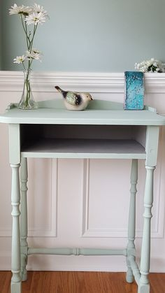 Before and After Renew an Antique table by painting with Pure & Original paints - this is Poetic Blue