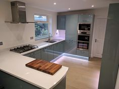 Kitchen created with Magnet Fusion blue and Apollo white Quartz worktops Fusion Kitchen, Blue White Kitchens, Kitchen Board, White Quartz, Apollo, Kitchen Designs, Kitchen Ideas, Kitchen Cabinets, Pallets